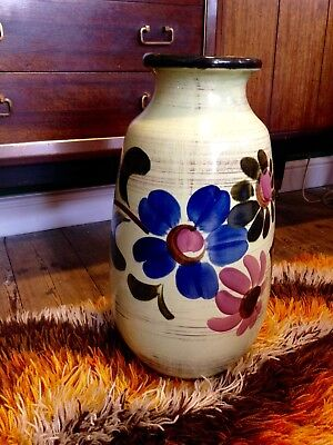 Vintage 60's 70's Large Jasba Floor Vase West German Pottery Retro Flower Power