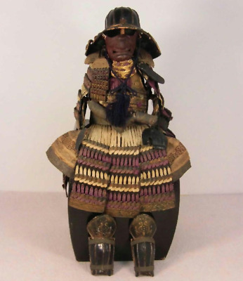 "Japanese Antique Doll Samurai Armor Miniature Kabuto Yoroi Edo Period 23"" Height"