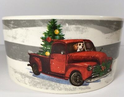 Old Truck With Christmas Tree.New Magenta Dog Red Old Truck Christmas Tree Large Pet Bowl Seasons Greetings
