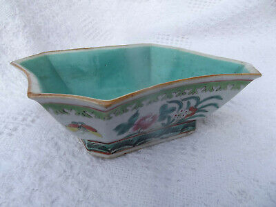 Rare Antique Chinese Six Sided Porcelain Bowl ,19Th Century, Nice , Free Ship