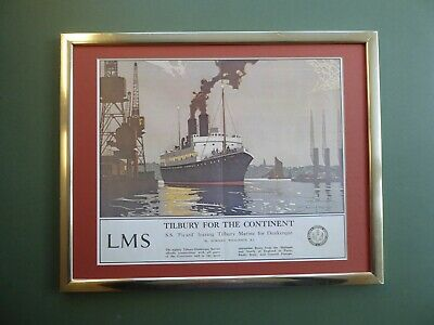 Superb Framed ART DECO LMS Railway TRAVEL Book print 'Tilbury for the Continent'