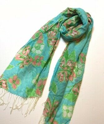 Lilly Pulitzer Murfee Scarf Shorely Blue Tootie Cashmere/Silk Limited Ed