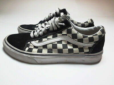 48a1d1a323 Vans Old School Checkers Suede and Cloth Black White Mens Size 8 Womens  Size 9.5