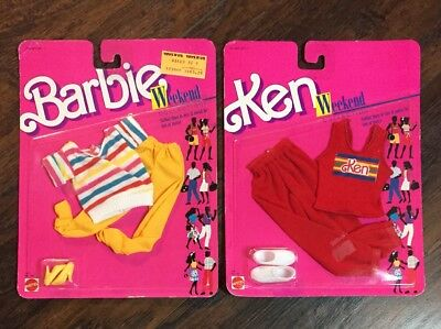 NEW Vtg 1988 Mattel Ken & Barbie Complete Weekend Collection Outfits