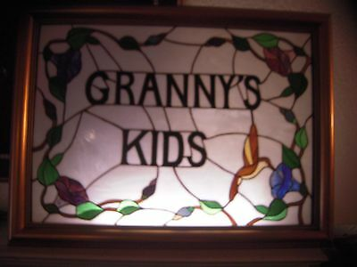GRANNY'S KIDS Hand Cut Stained Glass Framed Art Piece Humming Bird Theme 30""