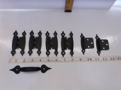 6 Vintage Look Forged Iron Strap Hinges Black Metal and 1 Handle