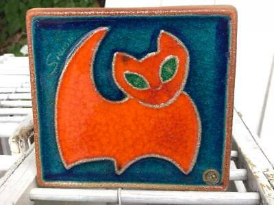 Søholm Stentøj Bornholm Pottery Relief Wall Hanging Cat Made in Denmark