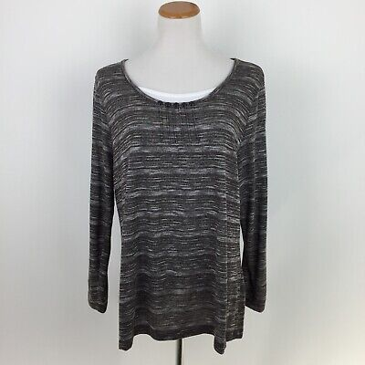 2146f98950 WHITE STAG womens 2X plus size brown heathered print casual blouse shirt top