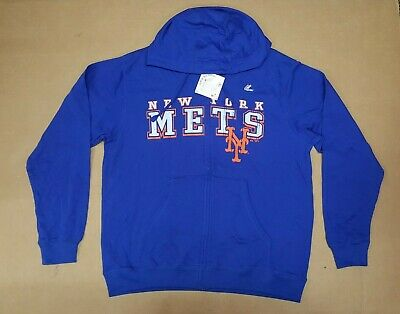 buy popular 9f69e fe0f9 NEW YORK METS Hoodie Sweater Blue Orange Stitches Mens Small ...