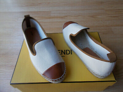 10afccf23ae6  395 Fendi Junia Shoes Espadrille Flats Canvas Leather Cap Toe 38.5 US 8.5  8 NEW