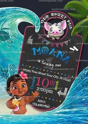 Baby Moana Party Invitation Birthday Invite