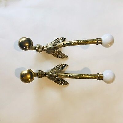 2 pc Vintage Solid Brass Bird Image Hooks with White Porcelain Knobs Wall Hanger