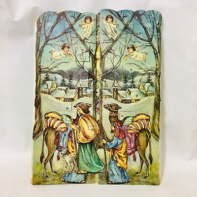 """1940s 50s Vintage HACO German Christmas Trifold Card 8""""x10.5"""" (folded) Haco 0250"""