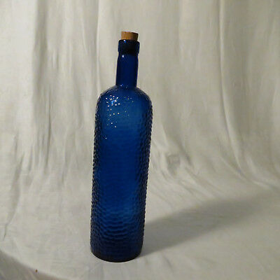 Vintage Cobalt Blue Bottle Decorative Design Made in Spain Cork 12 inches tall