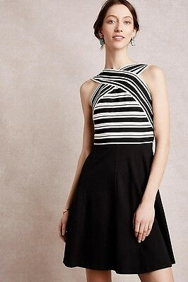 e01a95fc49f1 NEW Anthropologie Maeve Black Crosswise Flare Dress Size 2 Retails $158