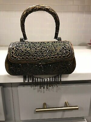 Antique 19th Century Chinese Reticulated Metal with Handle/Bells Cricket Cage