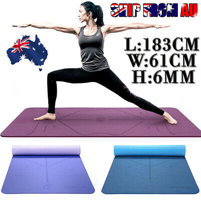 TPE Yoga Mat Eco Friendly Exercise Fitness Gym Pilates Non Slip Dual Layer New