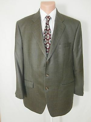 Ralph Lauren Mens Houndstooth Silk Wool Sport Coat Blazer Suit Jacket Sz 44L Euc
