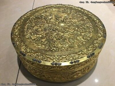 China Palace Old Bronze Copper Gold Gilt Engraving Dragon Boxes Case Jewelry Box