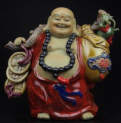 China Pottery Wucai Porcelain Home Display Maitreya Buddha Art Decoration Statue