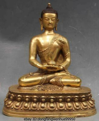 china folk Copper Bronze Carved lotus flower Bodhisattva Buddha Take Bowl statue