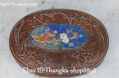 China Huanghuali Wood Inlay Shoushan Stone Shell Plum Blossom Jewelry Box Boxes