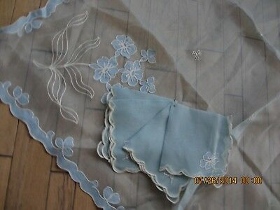 Vintage Organdy Tablecloth And Napkins Baby Blue Scalloped Edges Unused