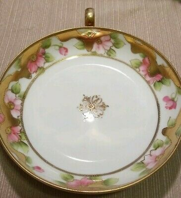Antique Nippon Candy Dish Hand Painted Gilded  With Finger Loop Handle BEAUTIFUL