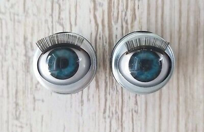 "18mm Doll Eyes - Fit 18"" American Girl Dolls Open/Close With Lashes - BLUE"