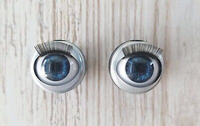 Custom Doll Eyes for American Girl Dolls & Gotz 18mm Open Close With Lashes Blue