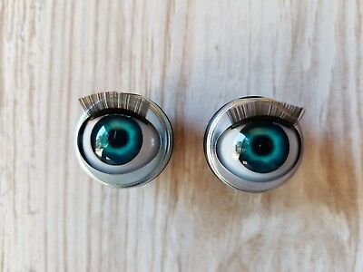 "18mm Doll Eyes - Fit 18"" American Girl Dolls Open/Close With Lashes - Mermaid"