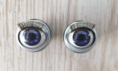 "18mm Doll Eyes - Fit 18"" American Girl Dolls Open/Close With Lashes ULTRA VIOLET"