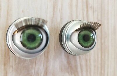 "18mm Doll Eyes - Fit 18"" American Girl Dolls Open/Close With Lashes - Jade Green"