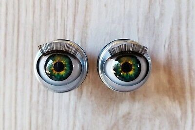 """396cb3997f2 Custom Doll Eyes Fit 18"""" American Girl Dolls Open/Close With Lashes Green  Gold"""