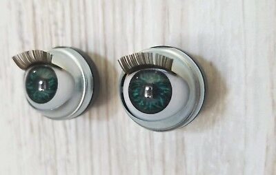 "18mm Doll Eyes - Fit 18"" American Girl Dolls Open/Close With Lashes ""Peacock"""