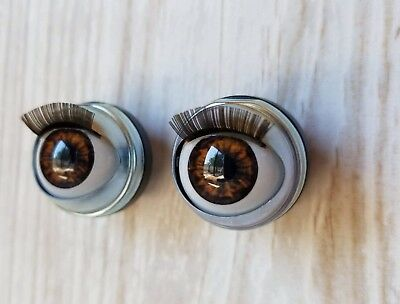 "18mm Doll Eyes - Fit 18"" American Girl Dolls Open/Close With Lashes Brown"