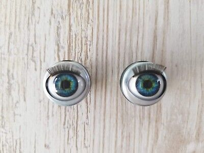 "18mm Doll Eyes - Fit 18"" American Girl Dolls Open/Close With Lashes - BLUE GREEN"