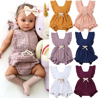 AU Summer Toddler Baby Girl Clothes Ruffle Solid Romper Cotton Outfits Sunsuit