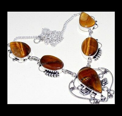 New - Earthy Tigers Eye Antique Silver Pendant Necklace