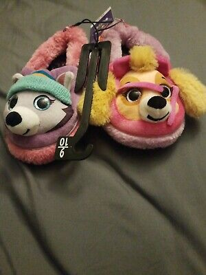 Paw Patrol Toddler Girls Slippers Size 9-10 Rubber Soles Casual House Shoes New