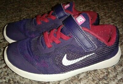 818ae4deb1 EUC Nike Revolution 3 Toddler Size 10C Purple Red Shoes Athletic Sneakers