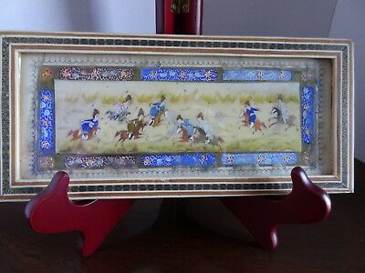"""#1 ~ 9.5""""x 4.4"""" Hand-painted Persian Plaque Hunting in Khatam Mosaic Frame 20th"""