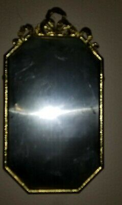 PAIR 1860s Antique Vtg French  Oval Brass Convex Glass PICTURE FRAME Bow Crest