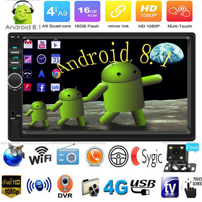 "7"" Quad Core 2DIN Android 8.1 GPS Nav WiFi Car Stereo MP5 Player FM Radio BT+Cam"