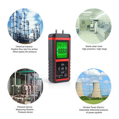 Digital Manometer With LCD Dual Port Air Pressure Meter Gauge Gas Tester UK