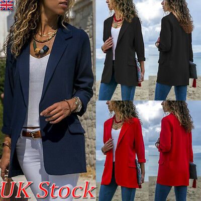 Women Ladies Open Front Long Sleeve Suit Cardigan Coat Blazer Office Work Jacket
