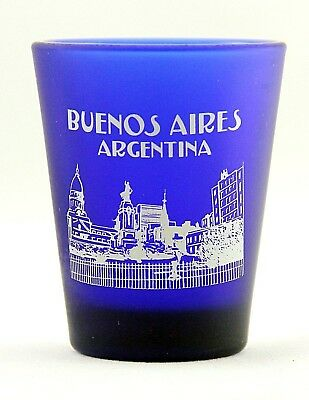 Buenos Aires Argentina Cobalt Blue Frosted Shot Glass Shotglass