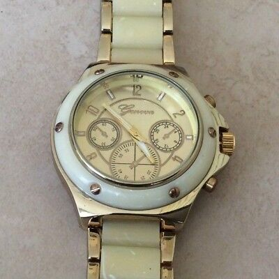 Geneva Women's Watch Round Gold Dial on Beige Tortoise & Gold Linked Band New!