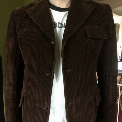 Vintage Mens Dark Brown Corduroy Jacket Leather Buttons Dry Cleaned - Sz Large L