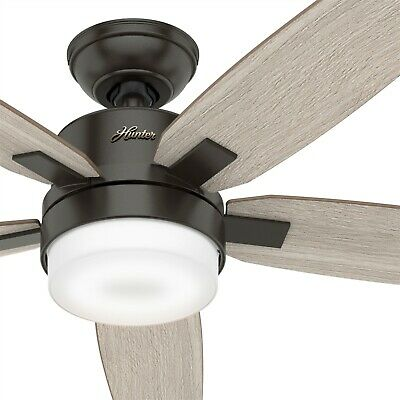 Hunter Fan 54 inch Contemporary Noble Bronze Ceiling Fan with Light Kit & Remote